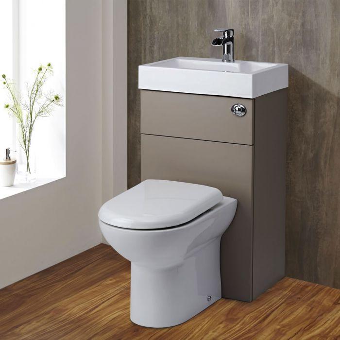 Set Bagno Completo con Lavabo e Sanitario Integrato Minimalist Colore Grigio Pietra