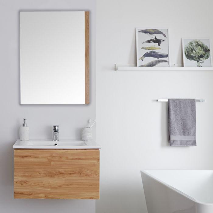 Mobile Bagno Murale 600mm con Lavabo Integrato Colore Rovere Dorato Disponibile con Opzione LED - Newington