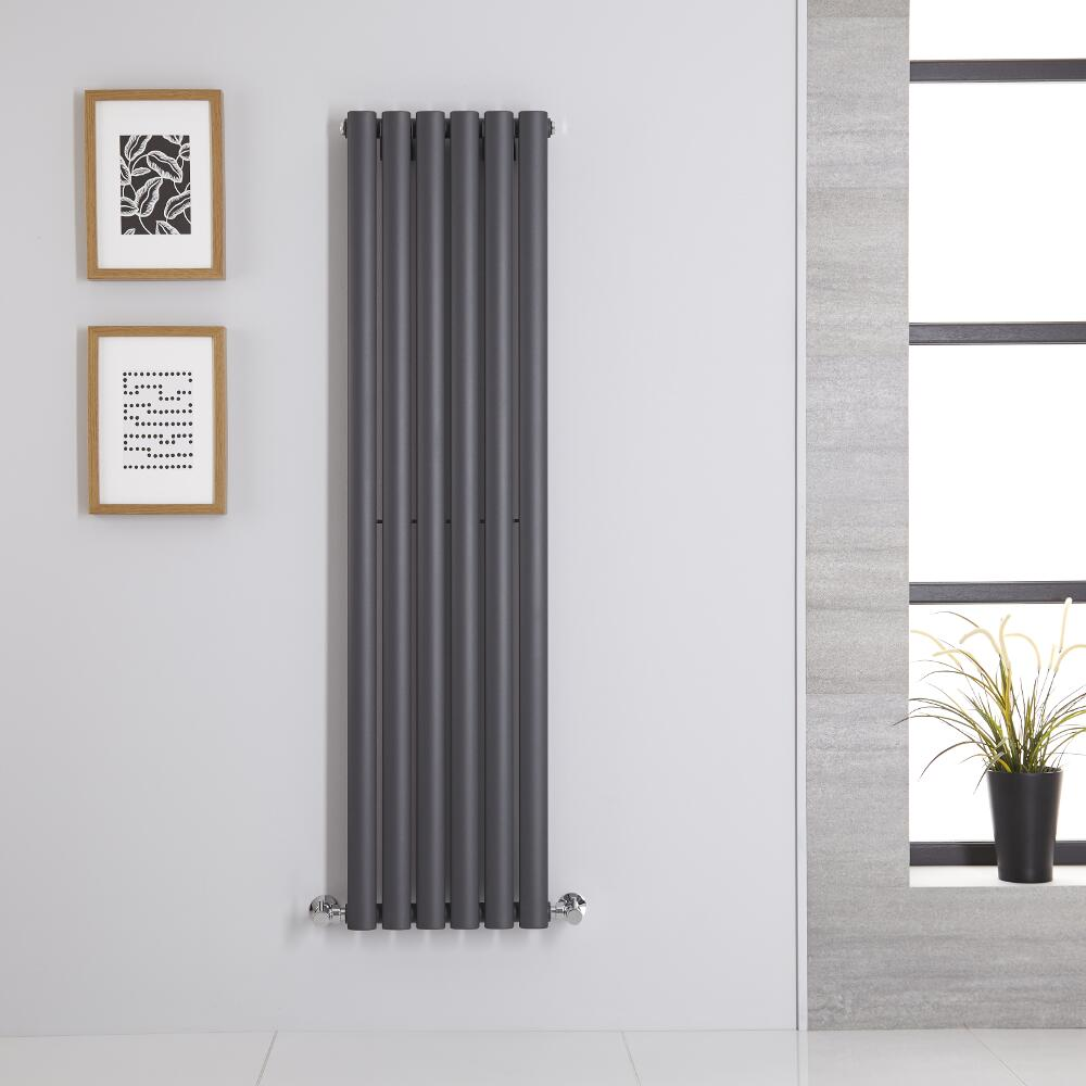 Image of Radiatore di Design Verticale - Antracite - 1400mm x 354mm x 56mm - 686 Watt - Revive