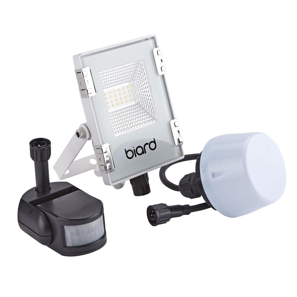 Image of Biard Faro Proiettore Piatto Bianco 10W con Sensore PIR o Sensore Crepuscolare