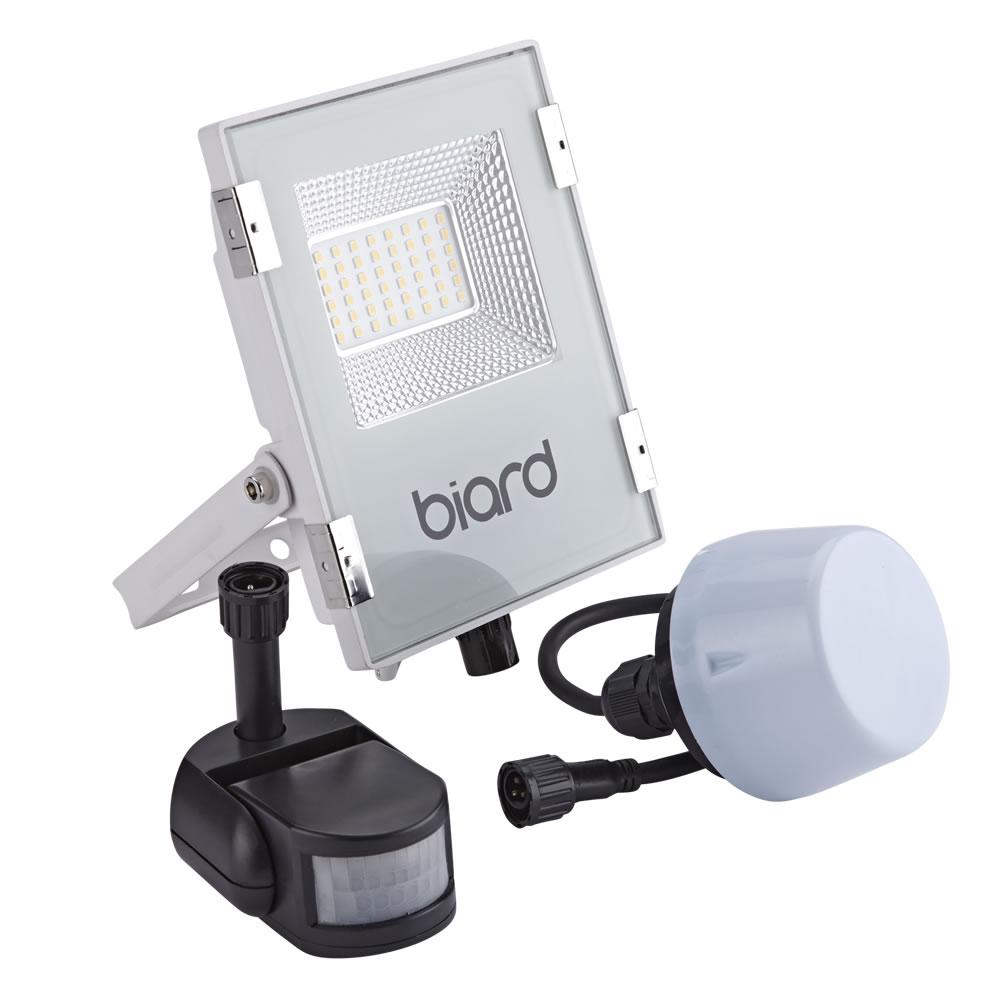 Image of Biard Faro Proiettore Piatto Bianco 20W con Sensore PIR o Sensore Crepuscolare