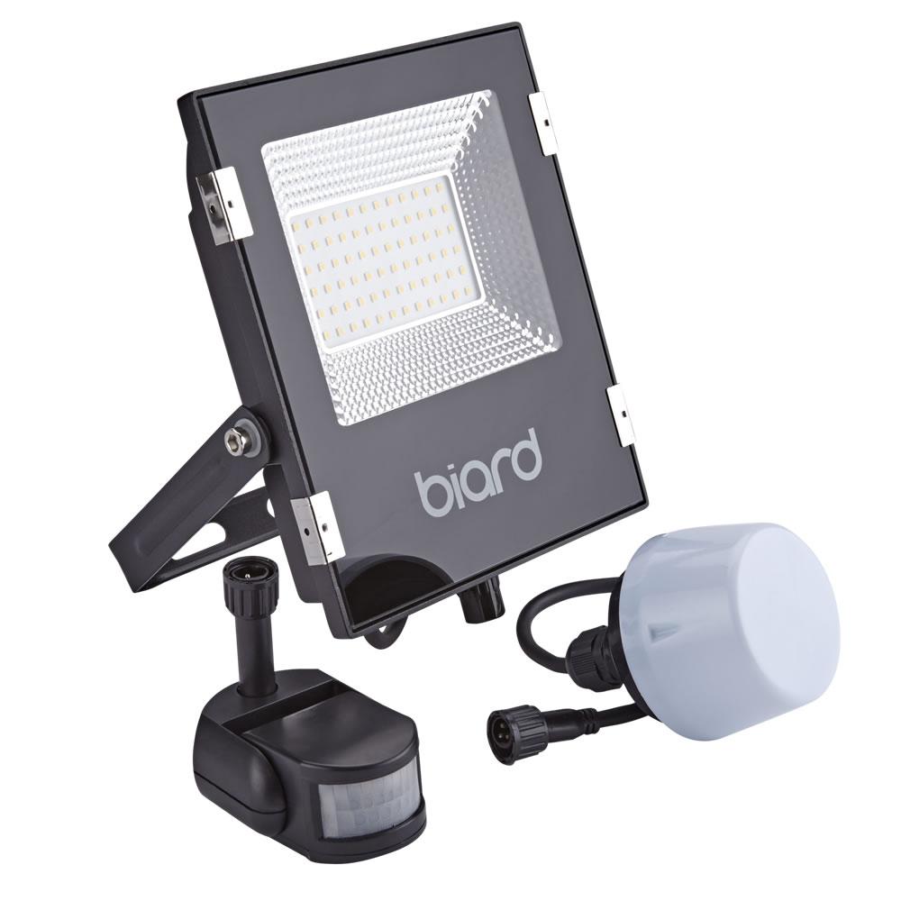 Image of Biard Faro Proiettore Piatto Nero 30W con Sensore PIR o Sensore Crepuscolare