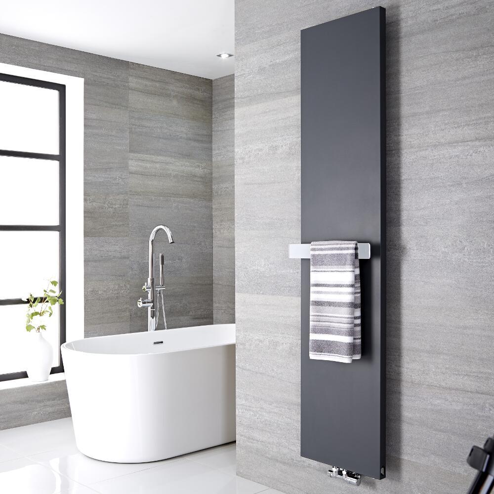 Image of Radiatore di Design Verticale con Porta Asciugamani - Acciaio - Attacco Centrale - Antracite - 1800mm x 500mm x 40mm - 1123 Watt - Rubi