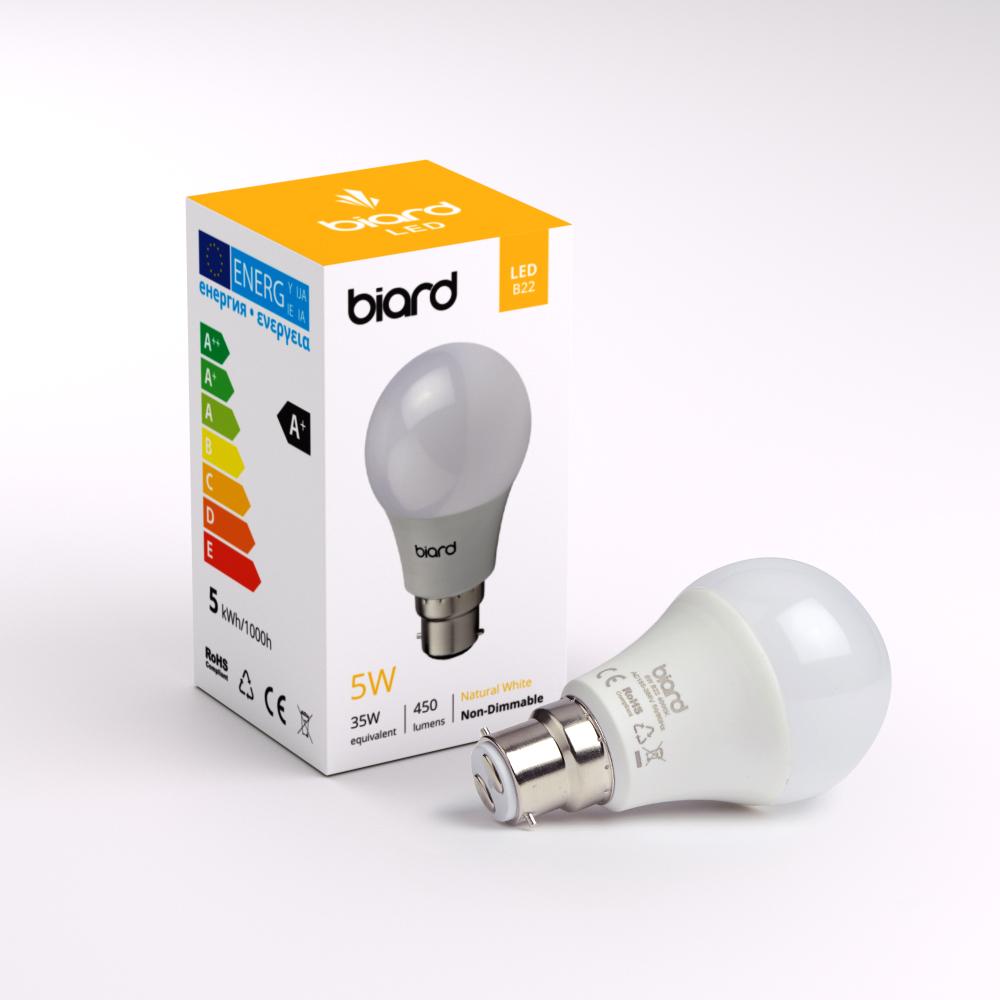 Image of Biard Kit con 6 Lampadine LED B22 Non Dimmerabili 5W