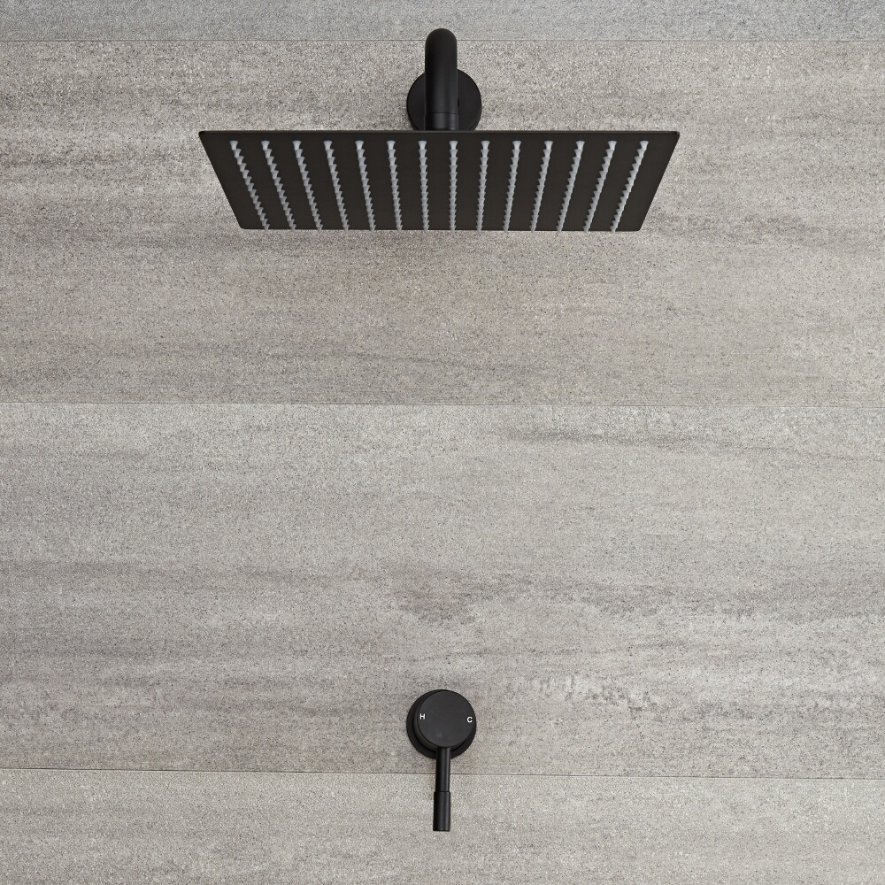 Image of Miscelatore Doccia Manuale ad Incasso Nero Completo di Soffione Doccia Quadrato 300x300mm e Braccio Doccia - Nox