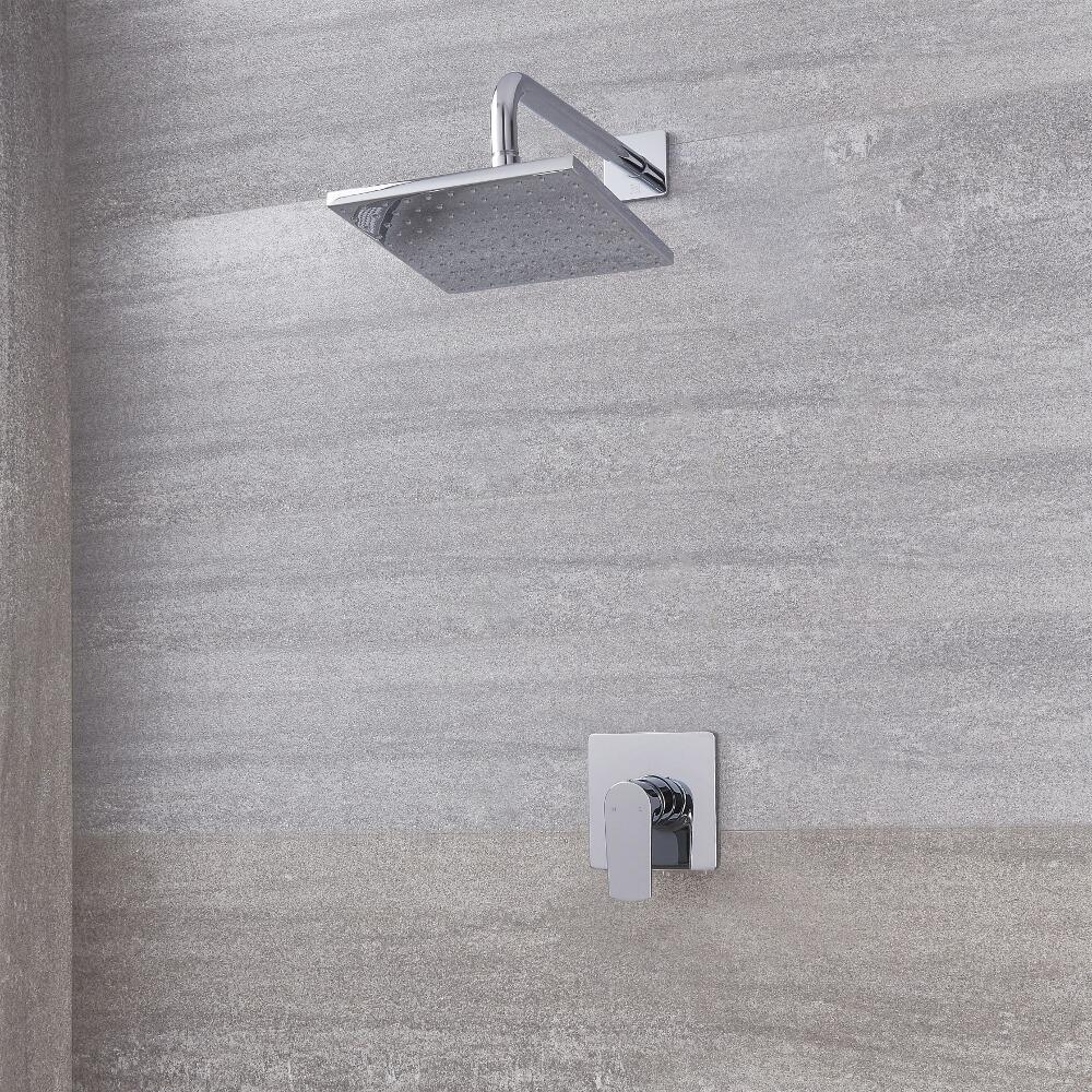 Image of Kit Doccia con Finitura Cromata Completo di Miscelatore Doccia Manuale ad 1 Via e Soffione Doccia Quadrato 300mm - Harting